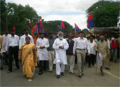 Pic 01: March on Georai police station Leadership of Adv. Eknath Awad  (National president CHR ), Manisha Tokle (Women's wing president CHR) , Papu Kadade (RPI), Ajinkya Chadane ( DPI) and  M.T. Sarpate ( Freedom Fighter )