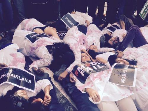 Pic01: Students lying on street during separate Khairlanji protests in Mumbai and Delhi..